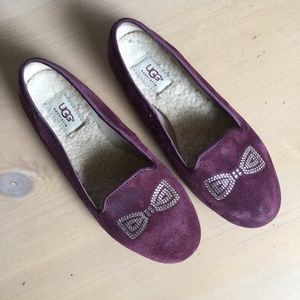 Ugg Alloway Crystal Bow Smoking Slippers 8